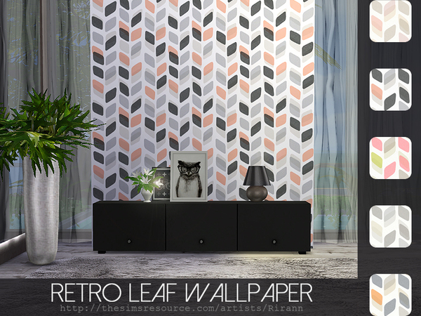 Retro Leaf Wallpaper by Rirann