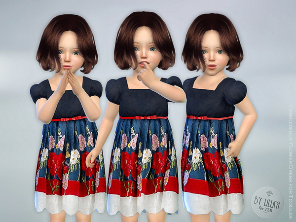 Embroidered Flower Dress by lillka