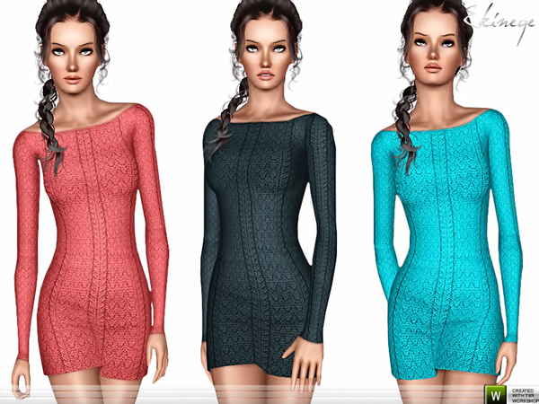 Boat Neck Knitted Dress by ekinege