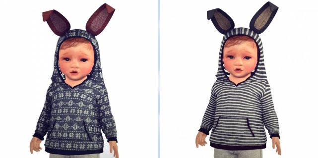 Bunny sweater with hood up by Sketchbookpixels