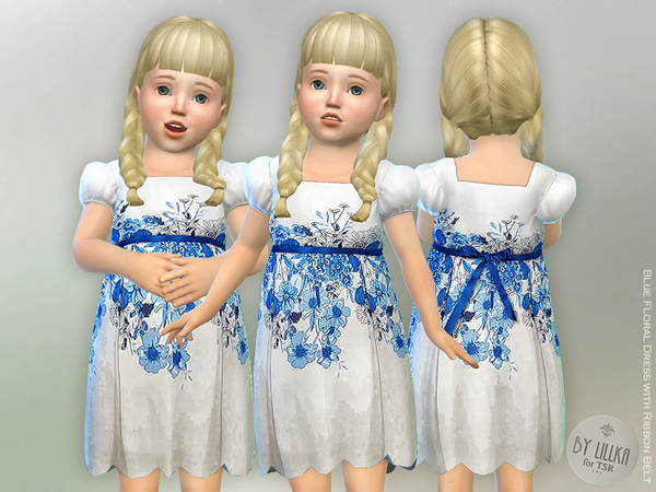 Blue Floral Dress with Ribbon Belt by lillka