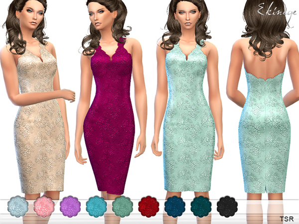 Embroidered Lace Halter Dress by ekinege