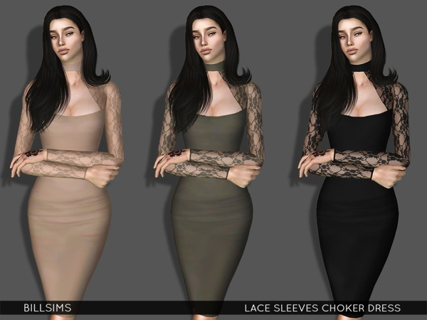 Lace Sleeves Choker Dress by Bill Sims