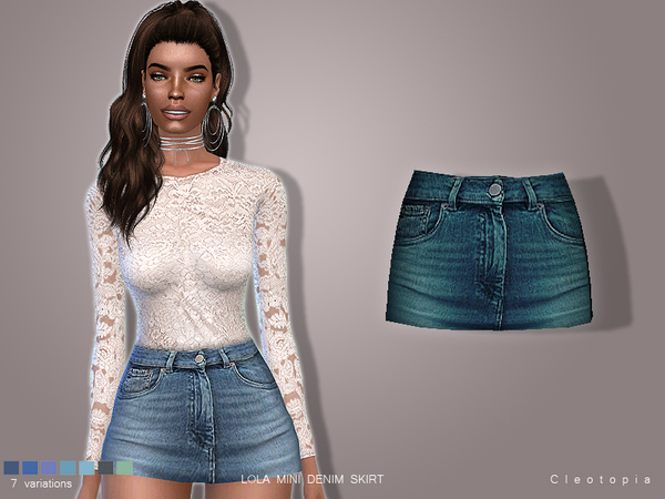 Set74- LOLA Denim Mini Skirt by Cleotopia