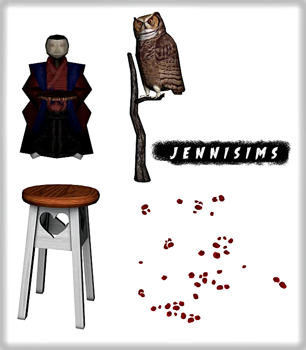Bar Stools, Sculptures and Rose Petals by JenniSims