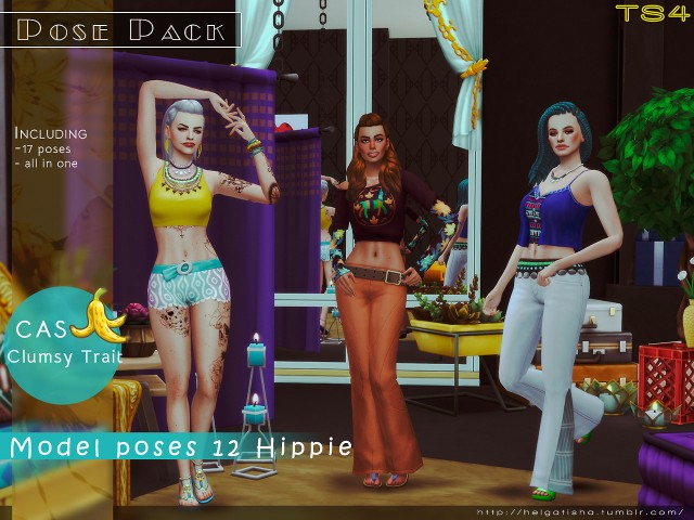 Model poses 12 Hippie Pose Pack & CAS by Helgatisha