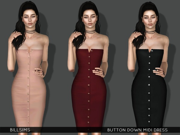 Button Down Midi Dress by Bill Sims