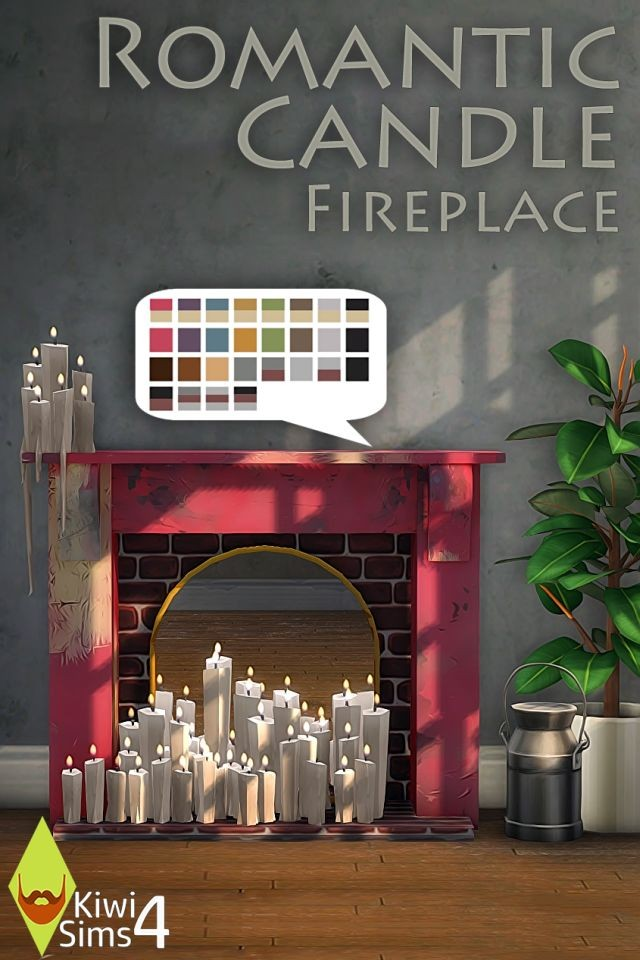 Romantic Candle Fireplace by KiwiSims4