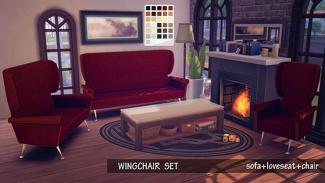 Wing Chair Living Room Set by EnureSims