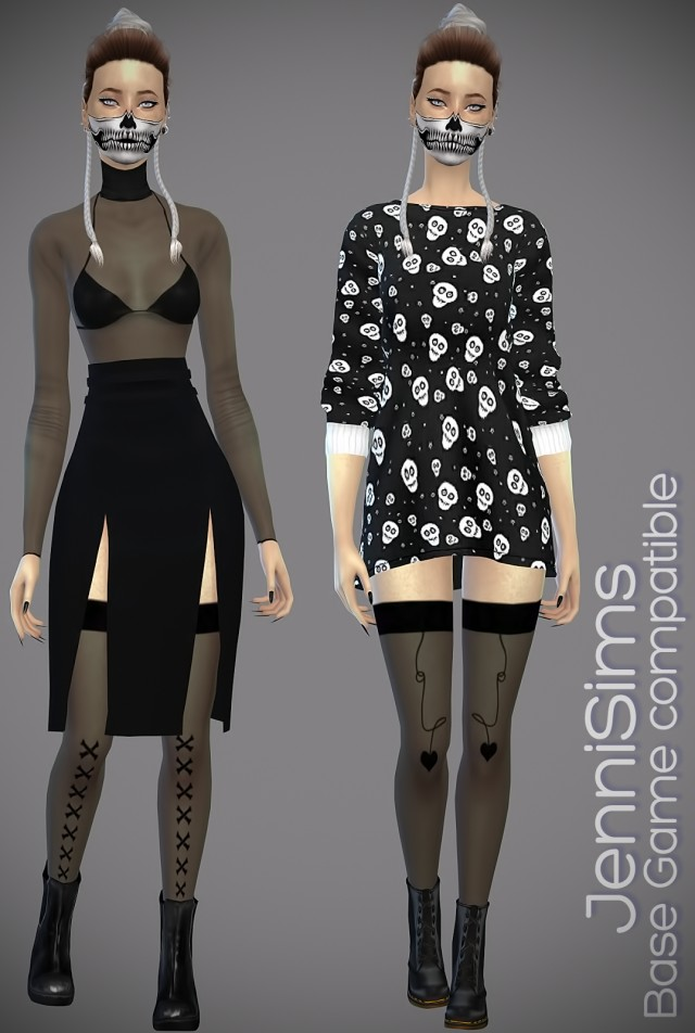 Base Game compatible Sets Bodysuit (3 Swatches) SocksStockings (5 Swatches) by JenniSims