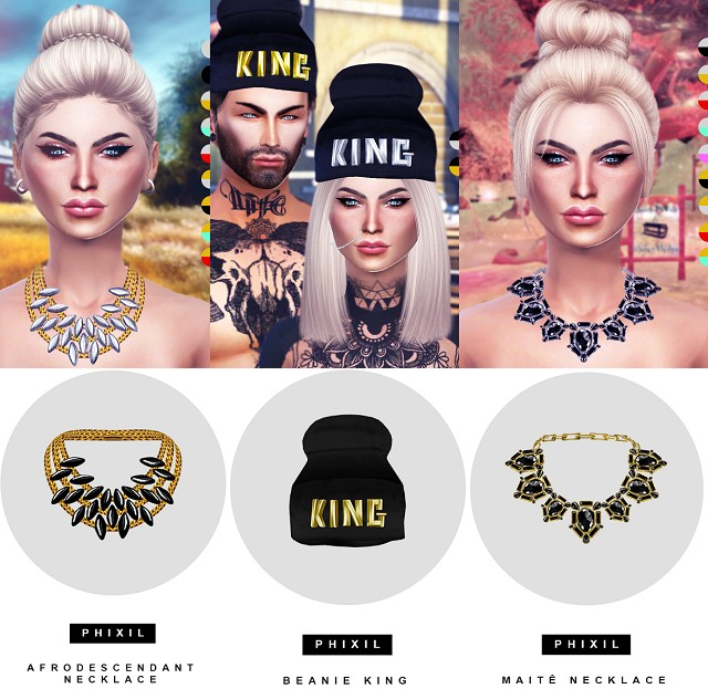 AFRODESCENDENTE & MAIT NECKLACES and BEANIE KING by Phixil