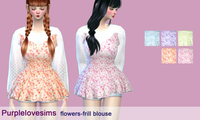 Flowers-frill blouse by PurpleLoveSims