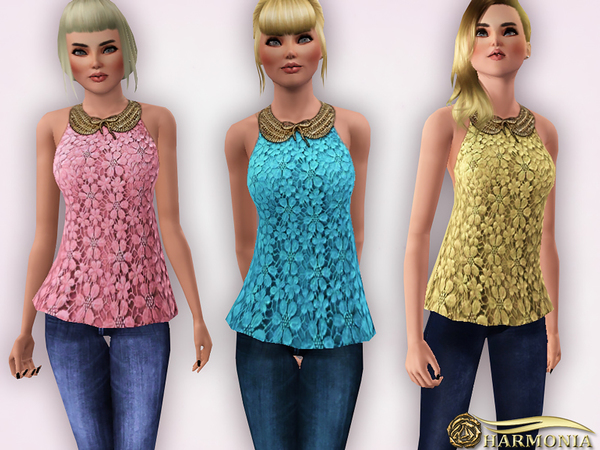 Gold Metal Collar Lace Peplum Top by Harmonia