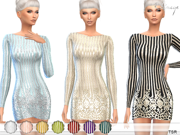 All Over Embellished Bodycon Dress by ekinege