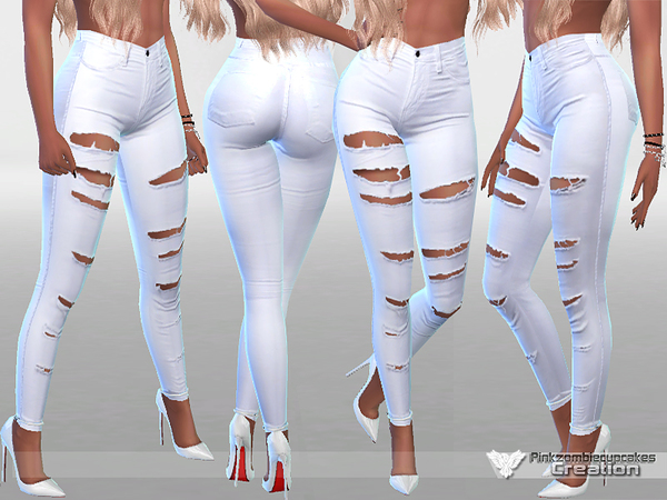 White Ripped Summer Jeans by Pinkzombiecupcakes