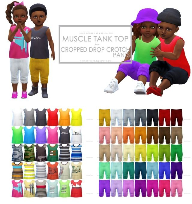 Toddler Muscle Shirt and Cropped Drop Crotch Pants by KiaraRawks