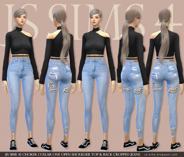 Choker Collar One Open Shoulder Top & Back Cropped Jeans by JS SIMS 4