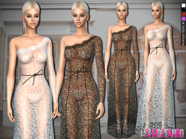 316 - Lace Gown With Bow Belt by sims2fanbg