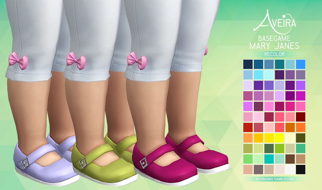 Mary Janes Recolored for Toddlers by AveiraSims