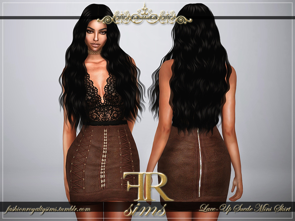 Lace-Up Suede Mini Skirt by FashionRoyaltySims