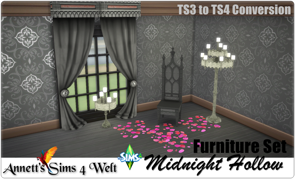 """Furniture Set """"Midnight Hollow"""" - TS3 to TS4 Conversion by Annett85"""