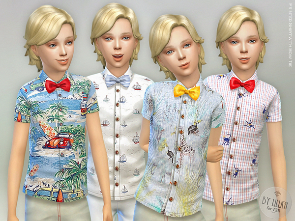 Printed Shirt with Bow Tie by lillka