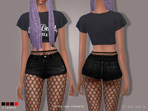 Set78- High Waisted Fishnet Tights by Cleotopia