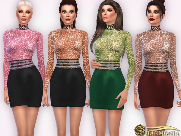 Turtle-Neck Bodysuit With Leather Skirt by Harmonia