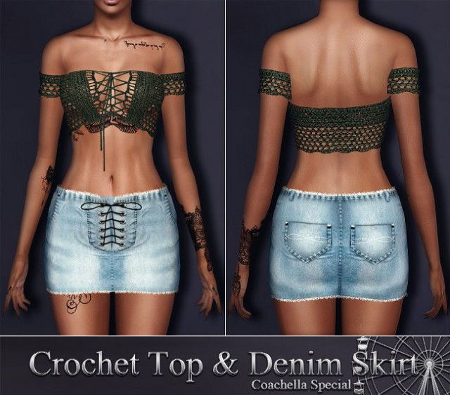 Crochet Lace Up Top and Denim Skirt by SantosFashion