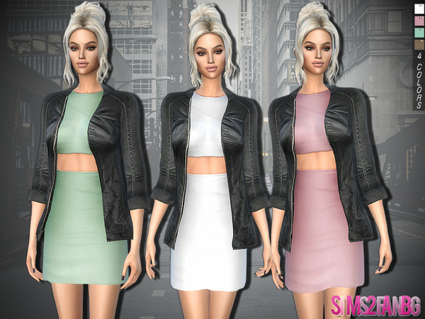 329 - Dress With Leather Jacket by sims2fanbg