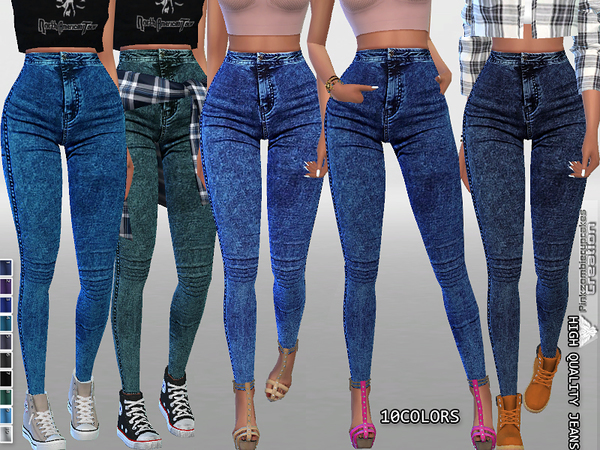 High Waisted Dark Denim Jeggings by Pinkzombiecupcakes