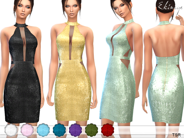 Sequin Halterneck Dress by ekinege