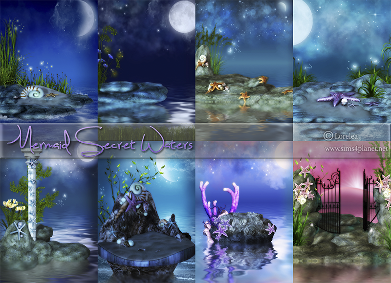 Mermaid Secret Waters Backgrounds by lorelea