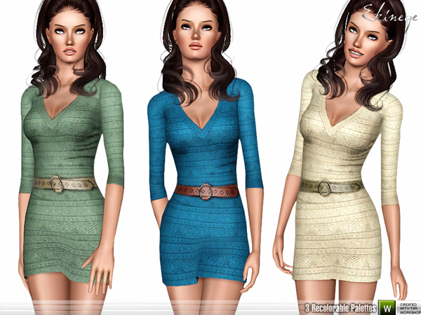 Belted Knit Mini Dress by ekinege