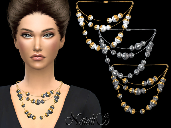Triple half pearl necklace by NataliS