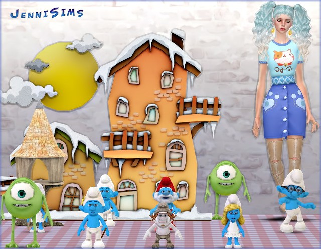 Set Vol 52 Decoratives Smurfs World,Monsters, Inc (9 Items) by JenniSims