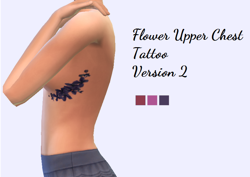 Flower Upper Chest Tattoo Version 2 by Christmasfear