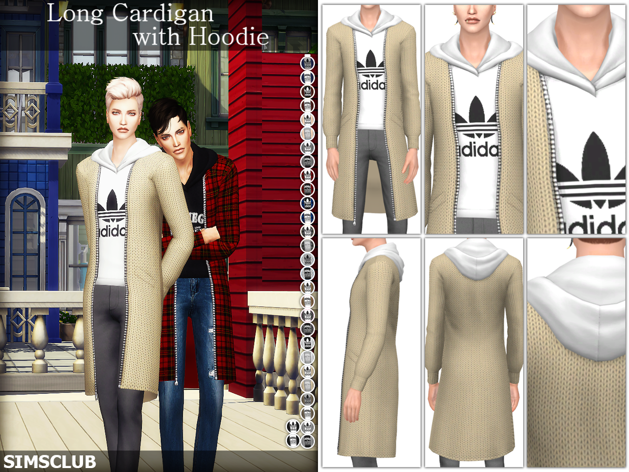 [SIMSCLUB] Long Cardigan with Hoodie by SIMSCLUB