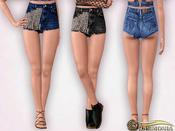 TEEN ~ Vintage Studded Denim Shorts by Harmonia