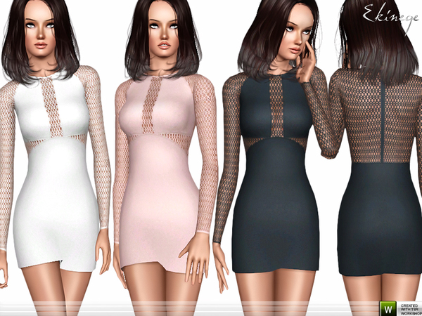 Lace Panel Mini Dress by ekinege