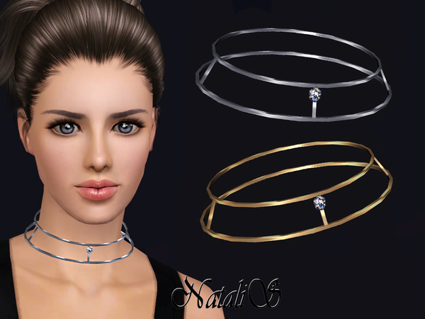 NataliS TS3 Skinny double necklace with crystal