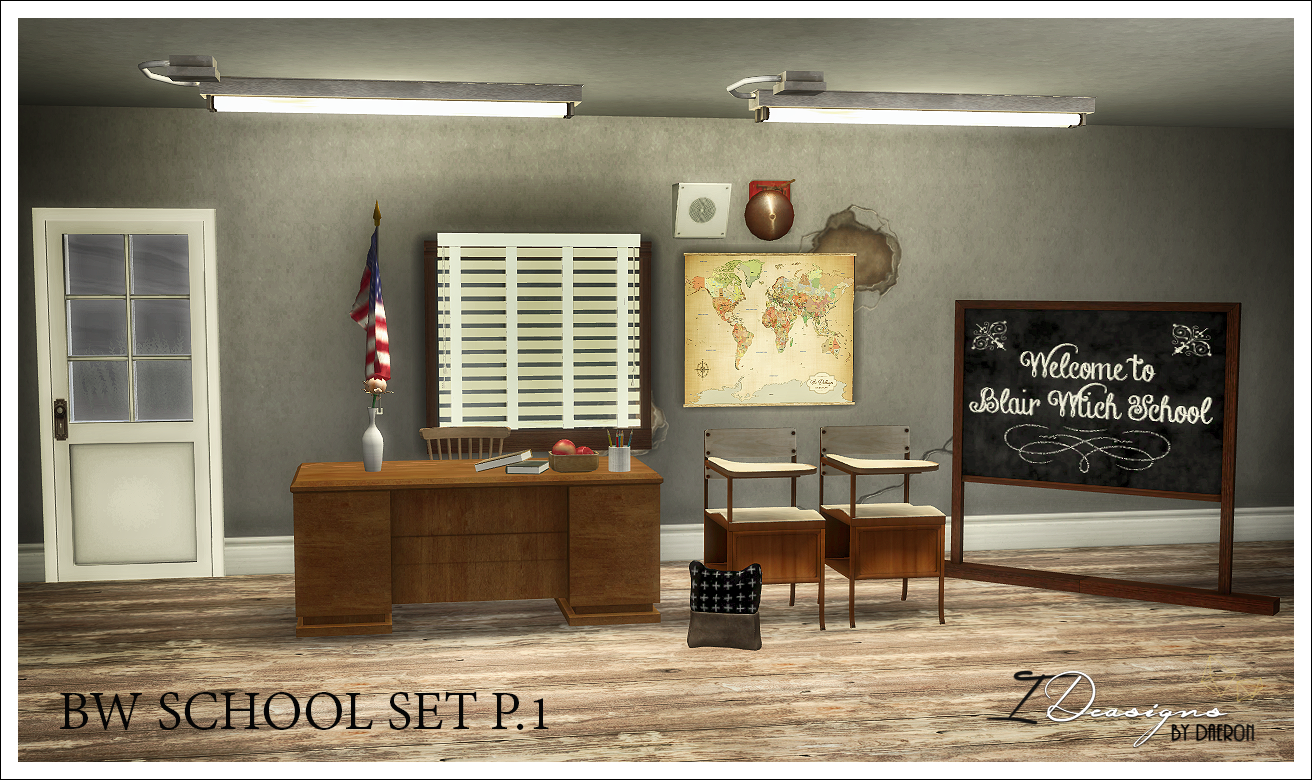 BW School Set P.1 by Sims 4 Designs