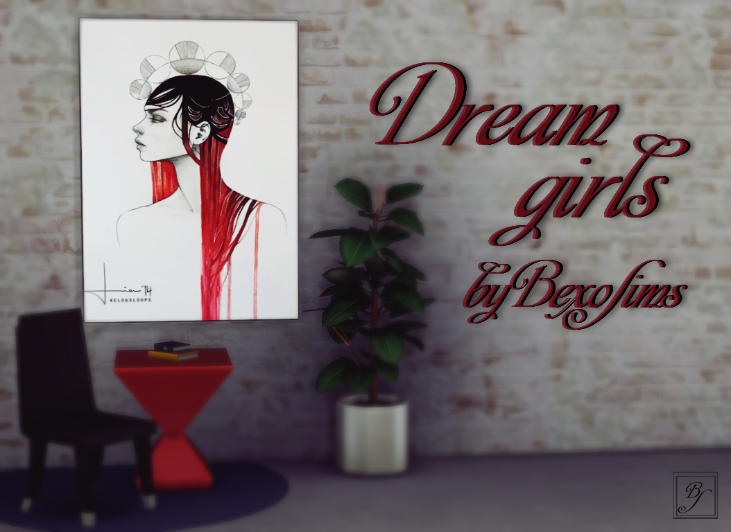 Paintings - Dreams Girls by BexoSims