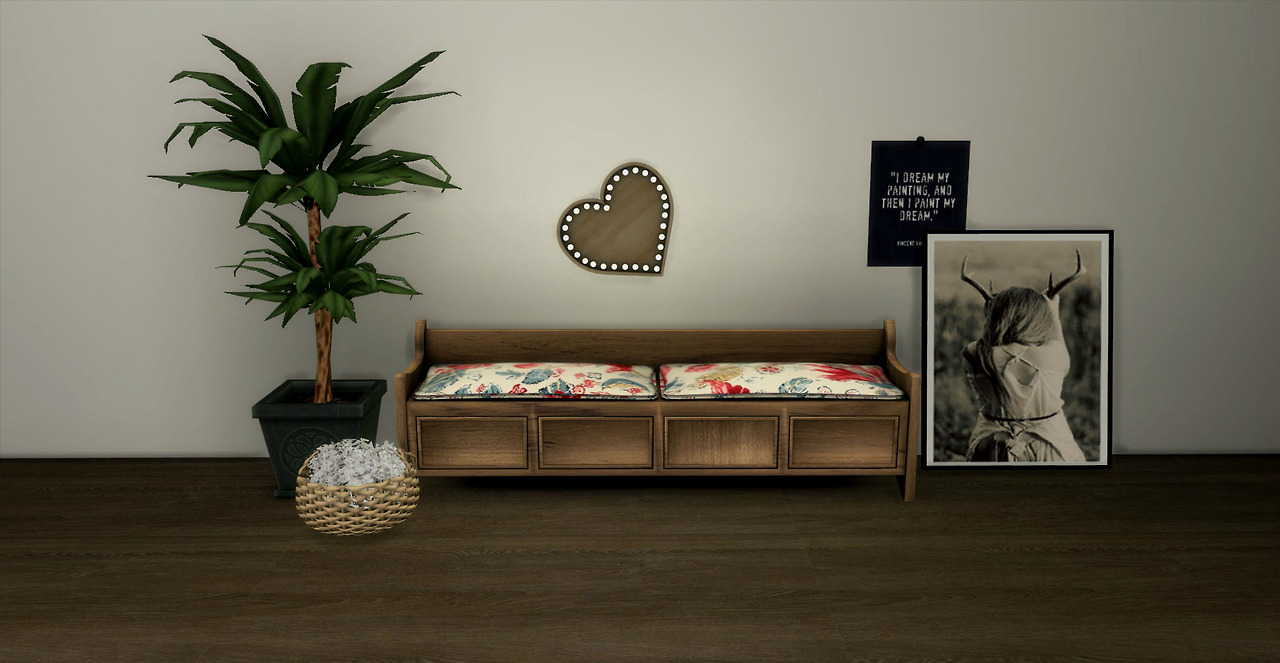 Storage Bench and Heart Lamp by Leo Sims