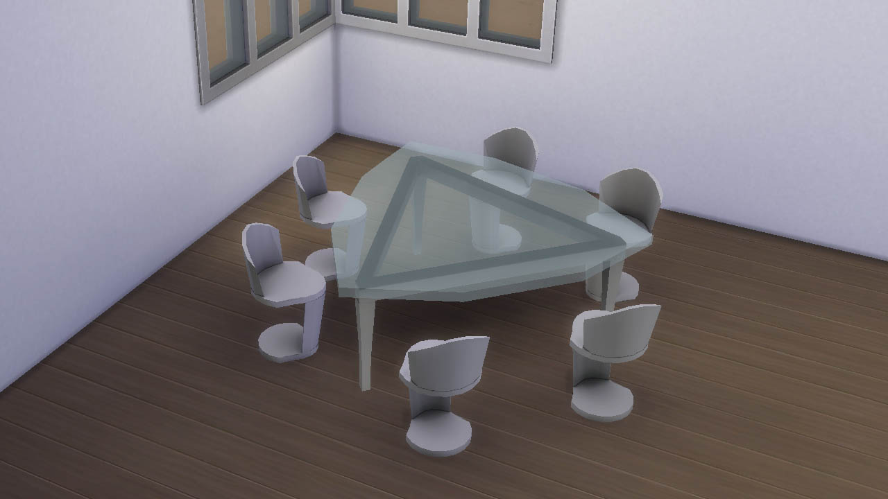 Futuristic triangular table for six sims and chair by necrodog