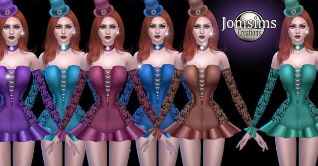 Burlesque. Short corset dress and hat by Jomsims