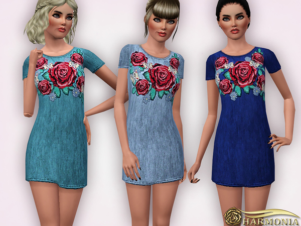 Denim Embroidered T-shirt Dress by Harmonia