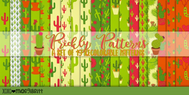 Prickly Patterns: A set of 19 Cactus themed by morgibritt