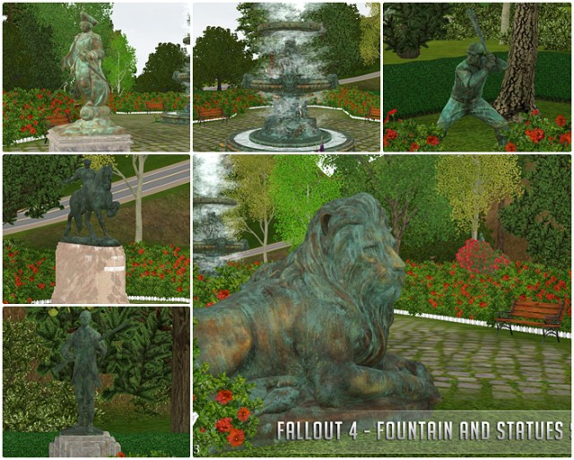 Fallout 4 - Fountain and Statues Set by NoirAndDarkSims