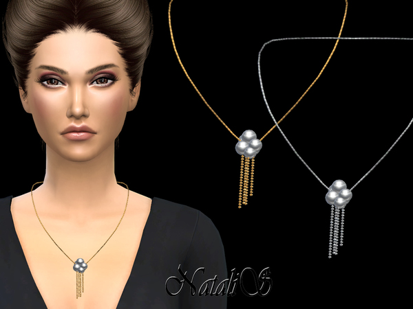 NataliS_Pearl and chain drop necklace